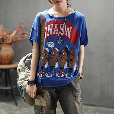 Cartoon Printed Round Neck Comfortable T-Shirt