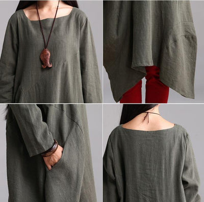 Custom made Cotton Linen Casual Loose Fitting Dress