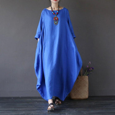 Women summer vintage cotton linen loose dress