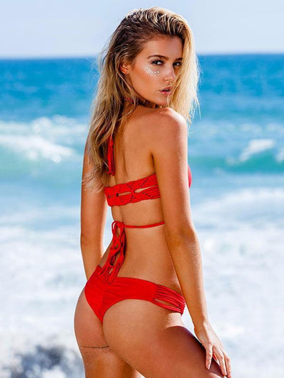 Red Lace-up Bikinis Swimwear