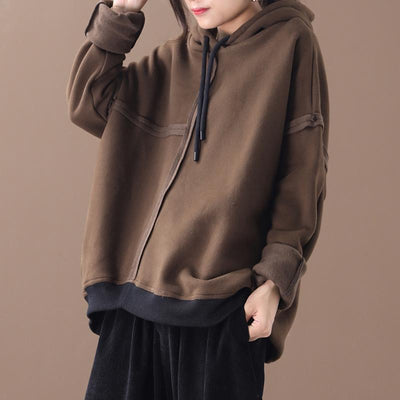Pure Color Drawstring Plus Velvet Hoodie