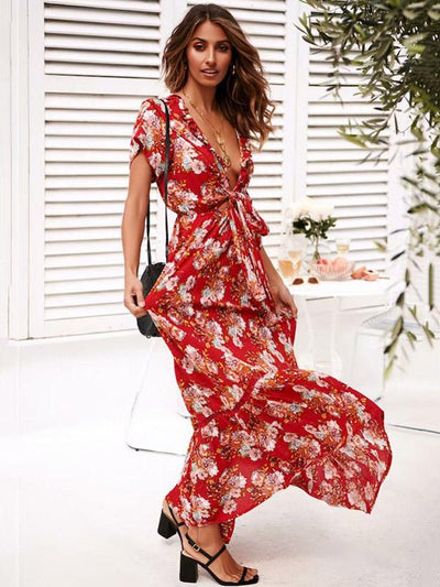 Sexy Lace-up Printed Bow-embellished Maxi Dresses