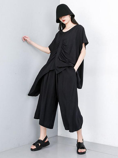Asymmetric Ruffled Solid Tops + Wide Leg Pants Suit