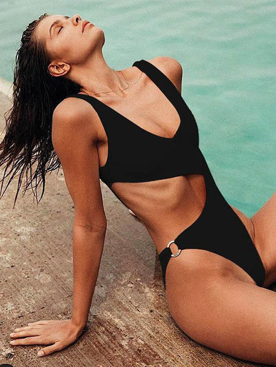 V-Neck Hollow Circular Ring One-Piece Swimwear