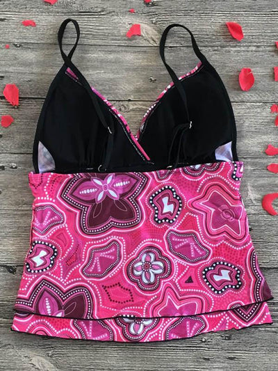 Printed Backless Tankini Swimsuit