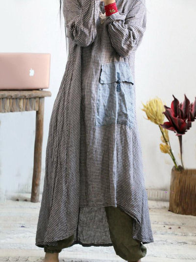 LOOSE VINTAGE LINEN PLAID ROUND-NECK LONG DRESS