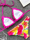 Plain Triangle Top With Printed Panty Bikini Set