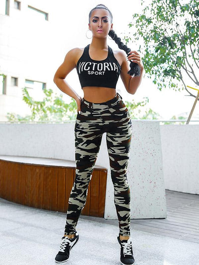 Printed Camouflage High Waisted Leggings