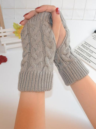 Threaded Half Finger Knit Gloves