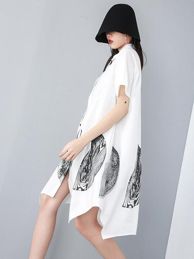 Ink Printed Cropped Shirt Dress