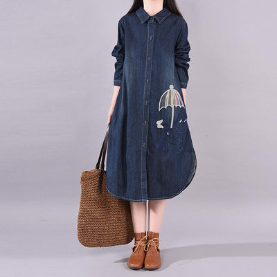Buykud Cute Embroidered Umbrella Casual Denim Dress