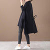 Buykud Loose Literary Irregular Split Hem Sweater Dress
