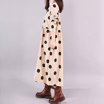 Autumn V-Neck Polka Dots Elegant Loose Dress