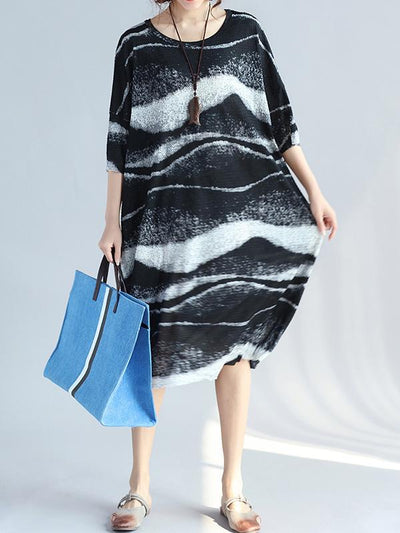 Loose Irregular Stripe Long Dress
