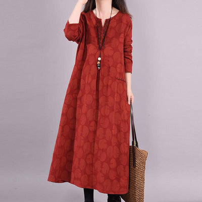 Buykud Dots Embroidery V-Neck Pullover Casual Loose Dress