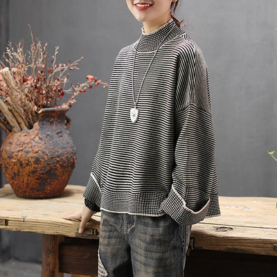 Half Turtleneck Striped Pullover Casual Sweater