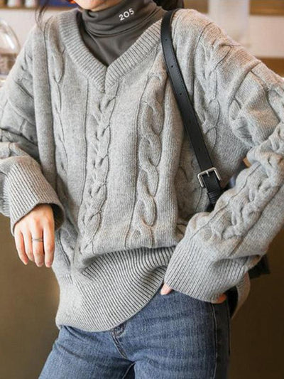 PURE COLOR V-NECK WOOLEN SWEATER