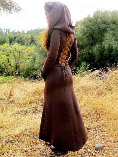 Hooded Backless Long Sleeve Maxi Dress
