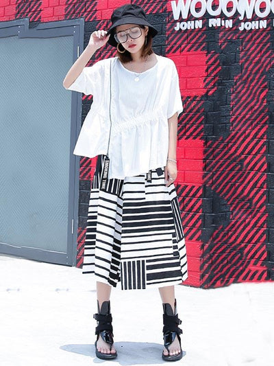 Irregular Striped Wide-leg Pants
