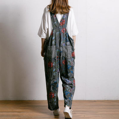 Birds And Flowers Printed Adjustable Strap Jumpsuit