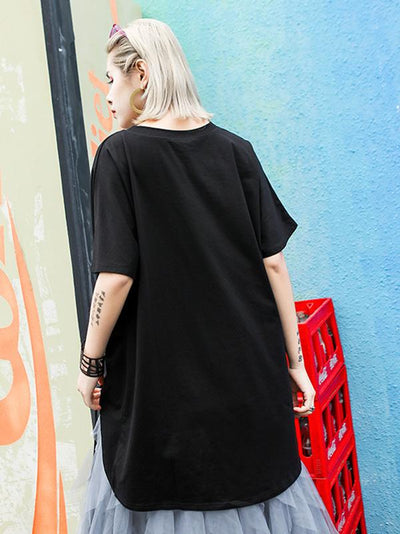 Pure Color Irregular Long T-shirts