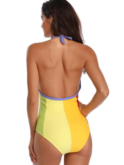 Bandage Color-joint One-piece Swimwear