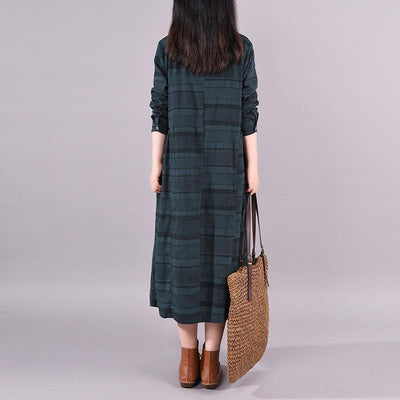Buykud Comfortable Round Neck Casual Striped Loose Dress