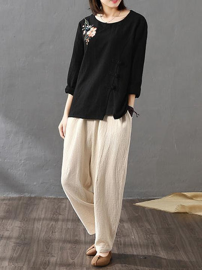 National Solid Color Linen Harem Pants