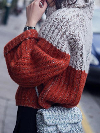 CASUAL SPLIT-JOINT HIGH NECK SWEATER