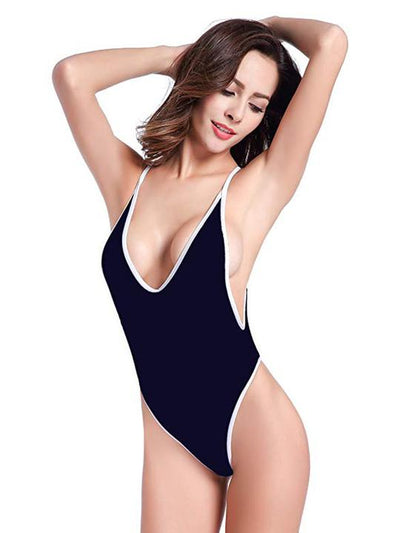 Solid Spaghetti Straps Backless One Piece Swimwear