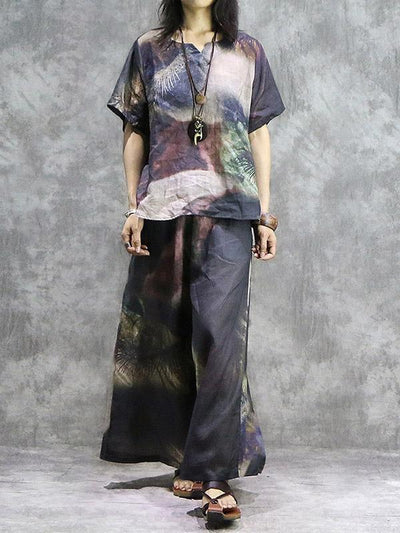 New Vintage Ramie T-Shirt + Loose Wide Leg Pants