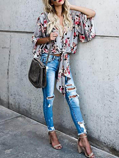Casual Gray Blouse Shirt with Floral Print