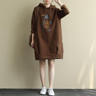 Buykud Autumn Winter Embroidery Plus Velvet Casual Hoodie