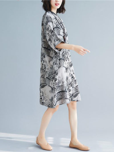 Loose National Style Long Polo Dress