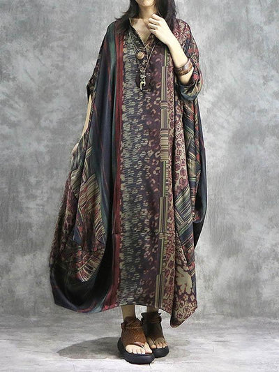 Vintage Split-joint Loose Silk Printed Maxi Dress