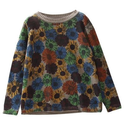 Casual Retro Floral Printed O-neck Knitted Shirt