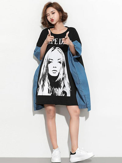 New Loose  Printed Split-joint Cartoon  T-Shirt Dress