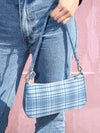 Artistic Retro Blue And White Plaid Bag