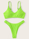 Solid Color V-Neck Spaghetti-Neck Split Bikini Swimsuit