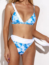 Tie-Dyed Gradient Asymmetric Split-Joint Split Bikini Swimsuit