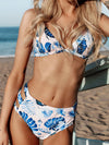 Floral-Print Hollow Triangles Split Bikini Swimsuit