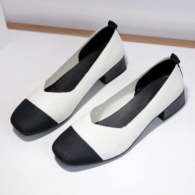 Color Block Chunky Heel Daily Casual Shoes