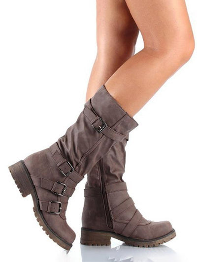 Solid Side zipper Mid Tube Boots
