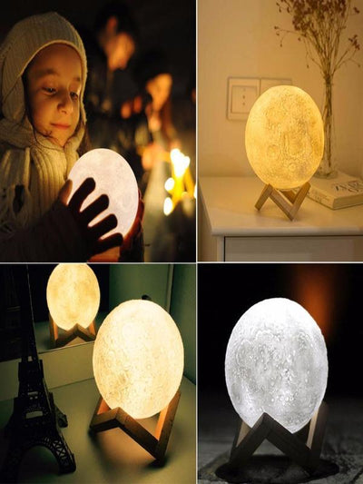 3 Color Changeable 3D Print Moon Night Moonlight LED USB Lamp
