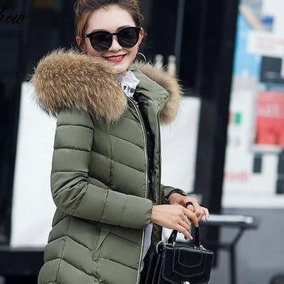 Winter Down Coat Jacket Hooded Parka with Fur Collar