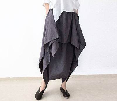 Loose Women Cotton Linen Wide Leg Pants