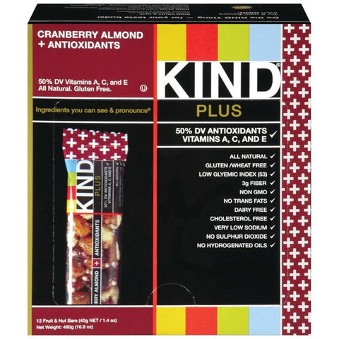 KIND Cranberry Almond Plus Antioxidants 1.4 oz Fruit & Nut Bars