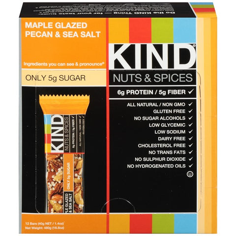 Kind Nuts & Spices Maple Glazed Pecan & Sea Salt Snack Bars