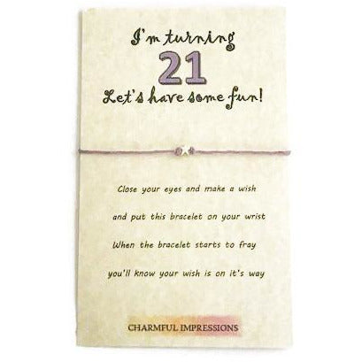 21st birthday wish bracelet - charmful impressions