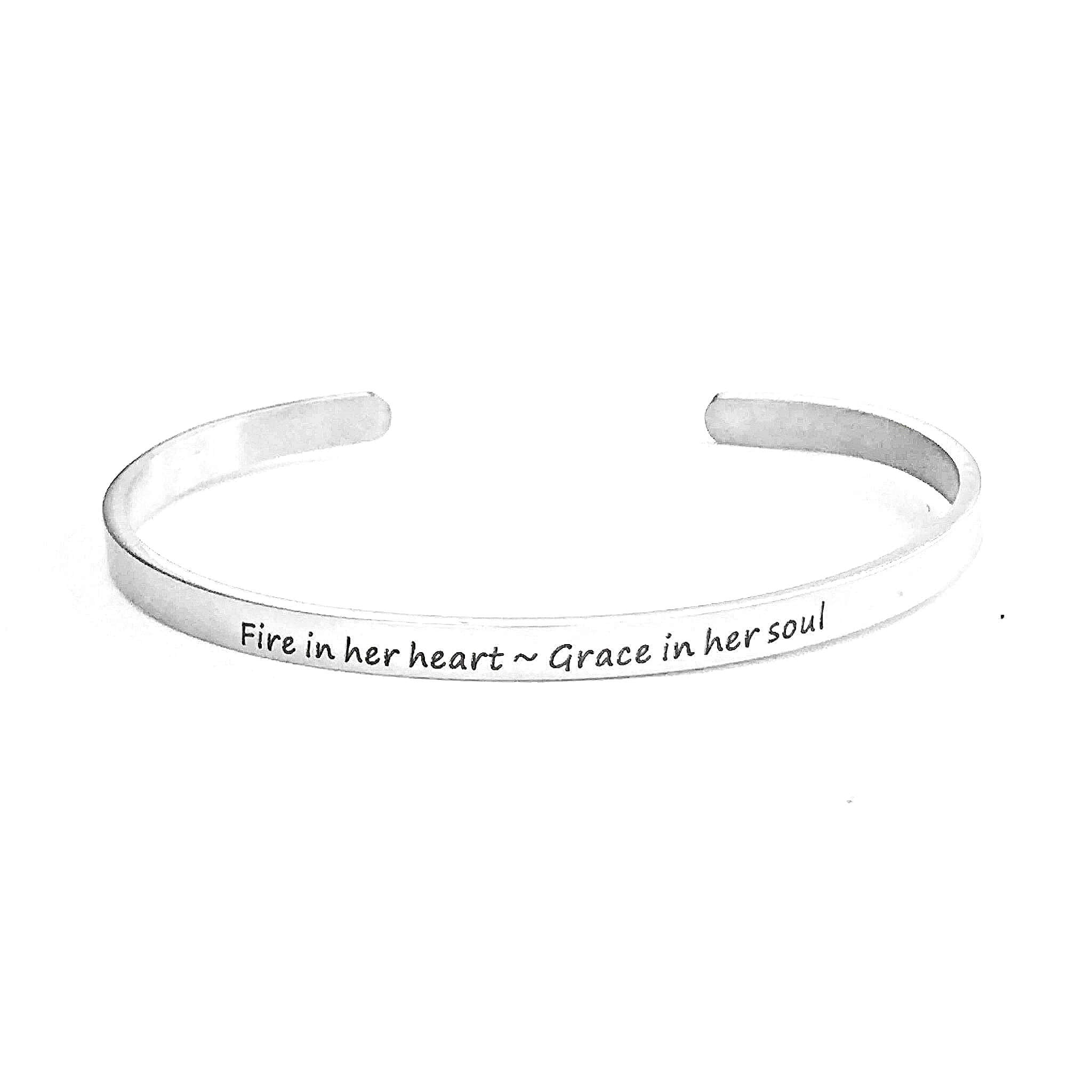 Fire in her heart grace in her sould cuff bracelet-Charmful Impressions